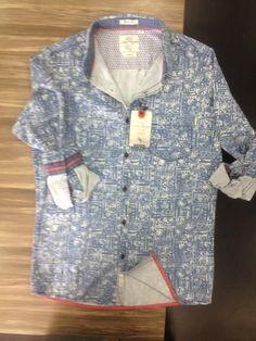 Mens Denim shirt Ice wash  Shirt detailing Cuff detail  and shirt hem detail