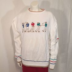 Mens UGLY Golf SWEATER Hathaway White Long Sleeve Large L would make a great Ugly CHRISTMaS Sweater Made in USA by UglySweaters4U on Etsy