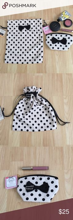 """2 Piece Polka Dot Cosmetic Make-up Pouch Bag These adorable 2 piece polka dot pouch/bag comes to you brand new with tags. Use the smaller on for make-up or anything you'd like to keep separate in your handbag. The larger one with drawstrings is great for traveling for your intimates or use it to put a gift in it. Smaller one with zip closure measures 7"""" x 4.5"""" and is 3.5"""" deep. Drawstring one is 10"""" x 12"""". If you're the girl who likes to keep the inside of your handbags clean then this is…"""