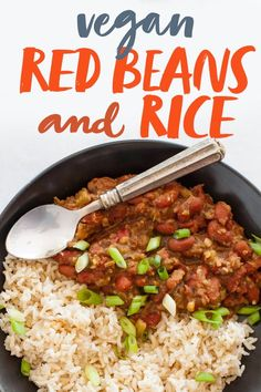 This Vegan Red Beans and Rice recipe may not be traditional (see also: it's vegan), but it certainly is tasty, bold, and easy! #veganrecipes #beansandrice