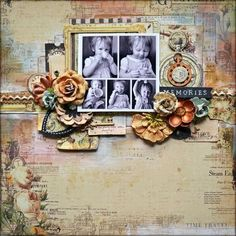 This layout designed by Kelly Foster used the Time Traveler's Memories collection from Prima.