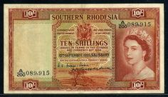 Southern Rhodesia 10 Shillings banknote of 1955, issued by the Southern Rhodesia Currency Board. Rhodesian banknotes, Rhodesian paper money, Rhodesian bank notes, Rhodesia banknotes, Rhodesia paper money, Rhodesia bank notes, Rhodesian money notes.  Obverse: Portrait of Queen Elizabeth, from a photograph taken by Dorothy Wilding during a single portrait sitting shortly after Elizabeth became monarch.