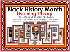 A Black History Month Listening Library:Included are 14 stories with SafeShare.TV QR codes.All SafeShare QR code links are safe to share with children without being afraid that they can get to potentially inappropriate content. Free of ads and outside links.Print these out for a bulletin board display or project onto your smart board.