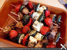 Feta-Gemüse-Grillspieße mit Salbei
