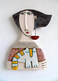 Handmade Ceramic Art TileCeramic SculptureGirl with white