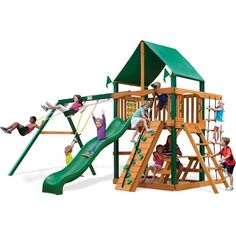Gorilla Playsets 01-0003-TS-1 Chateau Swing Set with Deluxe Green