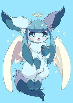 Glaceon Angel – Image By - Poke Ball Ninetales Pokemon, Solgaleo Pokemon, Pokemon Eevee Evolutions, Pokemon Fan Art, Cute Animal Drawings, Kawaii Drawings, Cute Drawings, Cute Pokemon Pictures, Pokemon Images