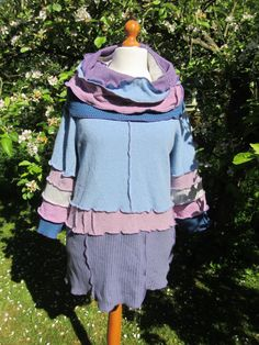 Ex Large Upcycled Sweater Dress, in pale blue, purple and pink pastel shades. Cowl Neckline. Quality Recycled Knitwear. UK Seller