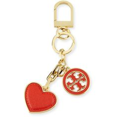 Tory Burch Logo & Heart Charm Key Fob ($69) ❤ liked on Polyvore featuring accessories, poppy red, heart shaped key chains, key chain rings, tory burch key ring, keychain key ring and logo key chains