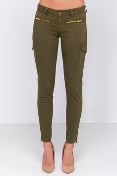 Olive Green Cargo Skinny Jeans