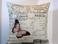 Pillow Pink Butterfly in Paris on French Script by WordGarden