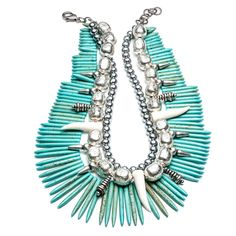 WOWZA the Malawi turquoise spike necklace from @dannijo Tribal #spa style!
