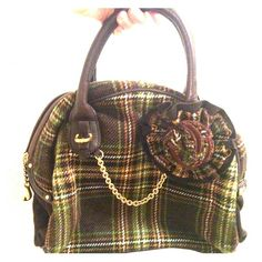 Juicy Couture Plaid Wool Bowler Handbag Green and brown plaid with gold details. Very Good Used Condition - purchased from a second-hand shop but never used. Juicy Couture Bags