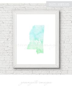 New Hampshire Printable   digital download  map art  watercolor     Mississippi Printable   digital download  map art  watercolor  minimalist  art  usa state outline  state map art  gallery wall