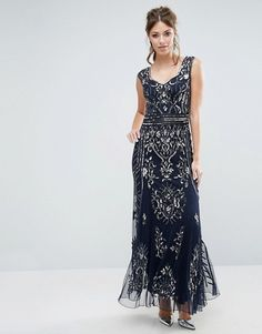 Frock and Frill Plunge Back Embellished Maxi Dress