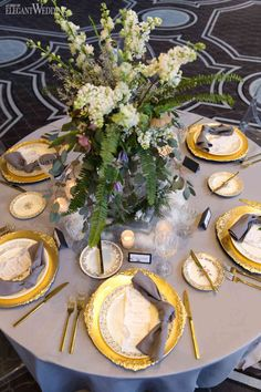 In case you couldn't tell by the artificial snow covering the aisle and tables, this grey and gold wedding shoot found its inspiration from winter. Wedding Shoot, Gold Wedding, Winter Wedding Inspiration, Grey And Gold, Big Day, Artificial Snow, Table Settings, Table Decorations, Tableware