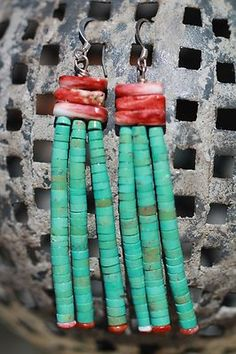 Vintage Southwestern Tribal Sterling Silver Spiny Oyster Turquoise Earrings