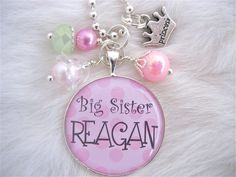 BIG SISTER Necklace Personalized Name Bottle by MyBlueSnowflake, $15.50