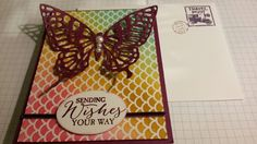 Stampin' UP's butterfly thinlit on colored Irissistably Yours Paper Pack (SAB 2015) ... base: Rich  Razzleberry CS  by: Q2uniquedesigns