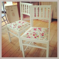 Pair of shabby chairs with vintage fabric, available from Shoreline Vintage. Painted in Autentico's 'ice cream'
