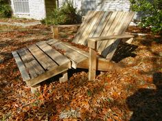 two seater adirondack chair from pallets....this is so going to happen at my house!