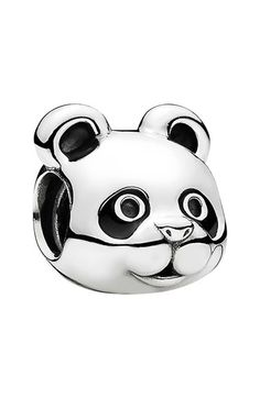 PANDORA 'Peaceful Panda' Charm | Black enamel defines the signature features of an adorable panda bear I'm a sterling-silver/enamel charm that makes a perfect gift for any fan of the cuddly animal. The panda is a symbol of tranquility, strength & determination | Imported