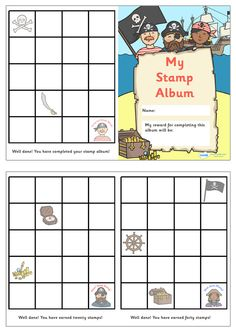 Twinkl Resources >> Stamp Reward Album Pirate Themed  >> Thousands of printable primary teaching resources for EYFS, KS1, KS2 and beyond! reward stamp album, reward, stamp, fun, chart, pirate themed,