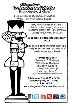 "For all those in Pioneer Valley Ballet's The Nutcracker: Remember to bring the orange flyer with you when shopping for your ""costume extras"". A portion of your purchase will benefit PVB - it is a Fundraiser! The flyer ensures that PVB receives credit for your purchase! Help us make this a great fundraiser for them   #fundraiser #PVB #Nutcracker"