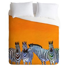 Clara Nilles Candy Stripe Zebras Duvet Cover | DENY Designs Home Accessories