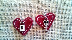 Leather lock and Key Key to My Heart Dangle Earrings  handmade by LeatherByLacy