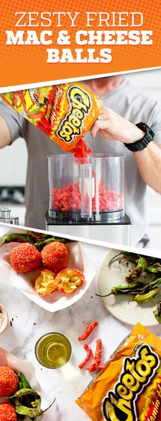 This is a fun and easy Mac and Cheese Ball recipe that coated in Cheetos Flamin' Hot Crunchy. Fried Mac And Cheese, Easy Mac And Cheese, Cheetos Mac And Cheese Recipe, Mac And Cheese Balls Recipe, Mexican Food Recipes, Snack Recipes, Cooking Recipes, Savory Snacks, Cooking Ideas