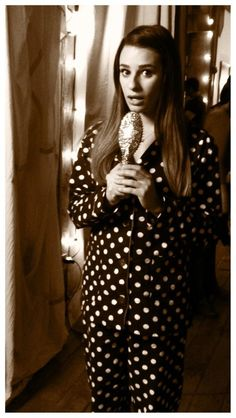 Rachel Wears Footie Pajamas and Carries a Gold Star Hair Brush in Glee Season 4, Episode 12