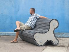 Recycled plastic and concrete bench.