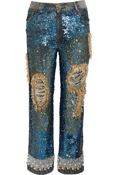 Ashish | Sequined distressed low-rise boyfriend jeans | NET-A-PORTER.COM