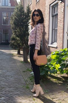 Floral shirt, black trousers, nude ankle boots, nude bag