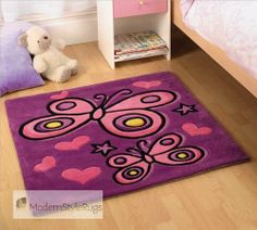 Flair Rugs Kiddy Play Erfly Childrens Rug In Purple Design With Free Uk Delivery For S Bedroom