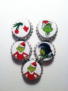 Lot of 5 Grinch bottlecap ornaments