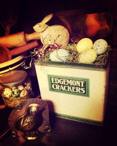 Lil primitive spring in a old tin cracker box place on my cupboard. By ye olde crow primitives