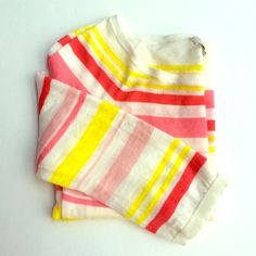 Ann Taylor Loft MultiStripe Lightweight Sweater Ann Taylor Loft MultiStripe Lightweight Sweater - more of a knit blouse. Bright pinks and yellows, perfect for summer. EUC. LOFT Sweaters Crew & Scoop Necks