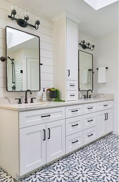 Bathroom decor for your master bathroom renovation. Discover master bathroom organization, master bathroom decor ideas, bathroom tile a few ideas, master bathroom paint colors, and more. Bathroom Renos, Bathroom Renovations, Bathroom Interior, Home Remodeling, Bathroom Ideas, Bathroom Organization, Bathroom Storage, Master Bathrooms, Bathroom Mirrors