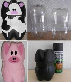 DIY Piggy Banks Made From Plastic Bottles   www.prakticideas.com