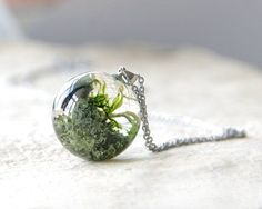 Lichen and Moss Sphere Necklace - green resin jewelry - unusual orb necklace via Etsy