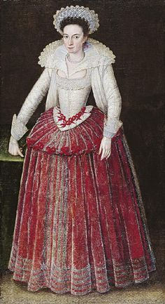 Portrait of Lady Arabella Stuart, claimant to the throne of England through her great-grandmother, Margaret Tudor, sister of Henry VIII. By Marcus Gheeraerts the younger, painted between 1605-1610.