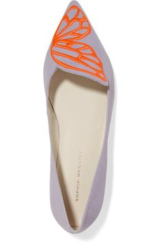 Sophia Webster - Bibi Butterfly Embroidered Suede Point-toe Flats - Lavender