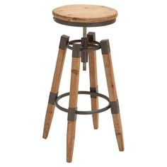 Lend a touch of industrial-chic appeal to your kitchen island or workspace with this handsome barstool, featuring an adjustable design and a natural finish.