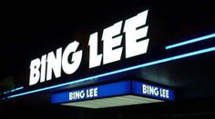 bing lee 3d illuminated sign  Adam Signs Illuminated Signs, 45 Years, Signage, Australia, 3d, Lighting, Light Fixtures, Lights, Lightning