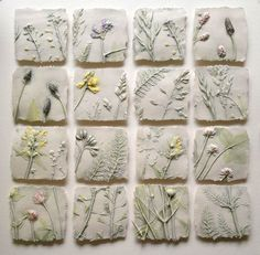Field, sq framed I hope no offense is given, but this makes me want to do larger tiles with cannabis leaves from a variety of strains brilliant ideas of sue dunne wall hung work 2017 2018 Sue Dunne - workshop near Hexham, Northamptonshire This is plaster Clay Projects, Clay Crafts, Diy And Crafts, Arts And Crafts, Ceramic Wall Art, Ceramic Clay, Ceramic Pottery, Clay Wall Art, Cerámica Ideas