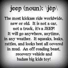 Jeep (noun):  \jēp\