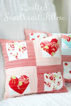 Quilted Sweetheart Pillow by Gluesticks   ~ shared at Brag About It link party on VMG206 (Mondays at Midnight)! #VMG206