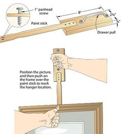 Clever jig for hanging pictures like a pro! #diydecor